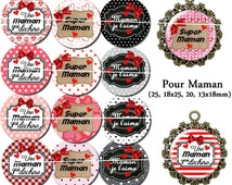 60 digital images for cabochons for MOM. 25, 18 x 25, 20, 13x18mm