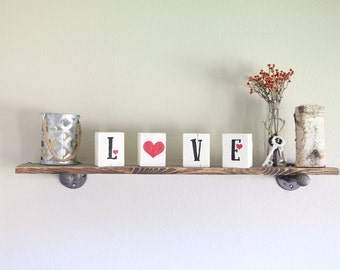 Love wood cubes/ wood decor/ rustic decor