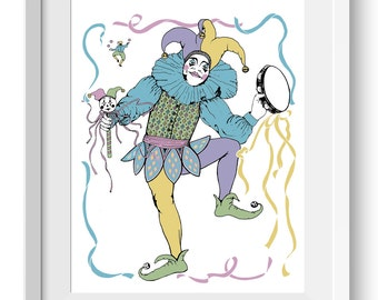 Jester Art Print, Harlequin Graphic Art Print