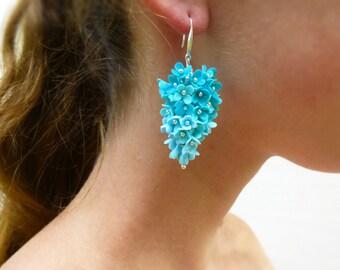 Flowers earrings Lilac earrings Blue earrings Floral earrings Turquoise Earrings Cluster Earrings Unique earrings Unusual earrings