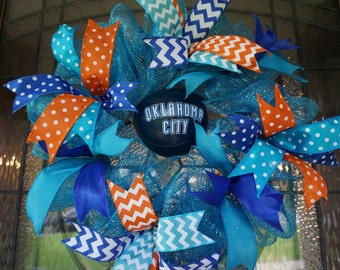 OKC Wreath-Mini, Thunder Wreath-Mini, OKC Thunder Wreath-Mini, Oklahoma City Wreath-Mini, Thunder Wreath-Mini