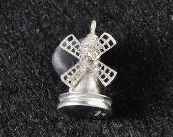 Silver Windmill Charm