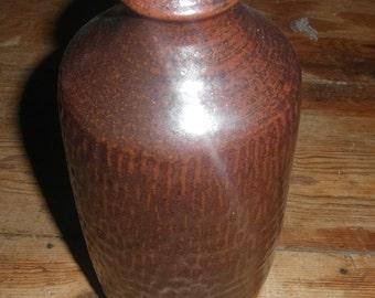 Vintage signed brown vase