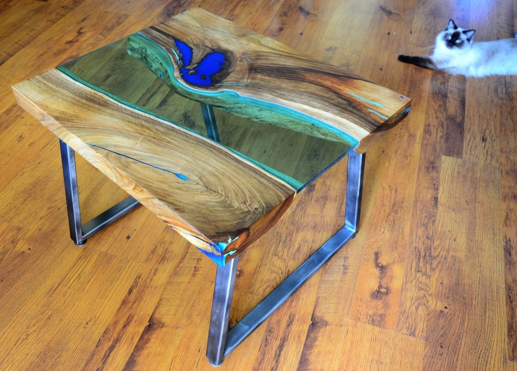 Live edge river coffee table with glowing resin fillin for How to finish a wood slab
