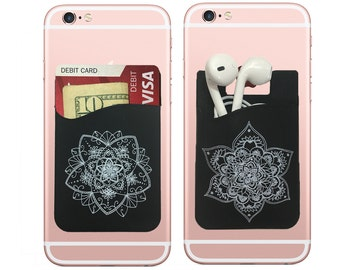Two, Mandala stick on wallet phone pocket credit card holder for your iPhone and Android.