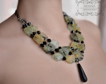 Sophisticated olive beaded  necklace with natural prehnite stone, casual style, handmade, gift for her, free shipping