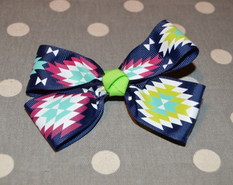 Navy with Tribal Decor and Green Knot
