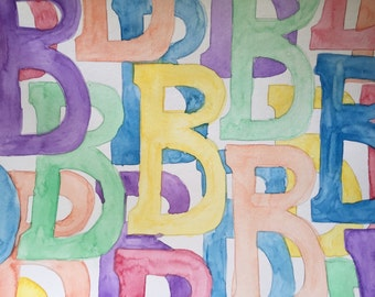 "Confetti Letters - 9""x12"" - Custom Watercolor Painting"