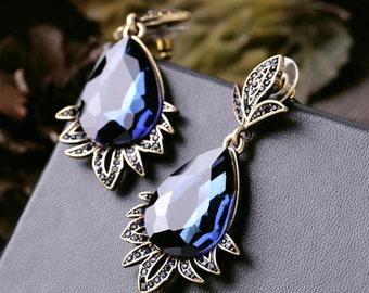 Grace Vintage Gold Earrings, Vintage wedding Earrings, Vintage Bridal Earrings, Vintage Bridesmaids Earrings, Royal Blue Earrings