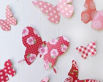 3D Wall Butterflies - 12 Red Pink Butterfly Silhouettes / Nursery Decor / Home Decor / Wedding Decor
