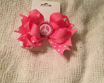 Pink polka dot hair bow