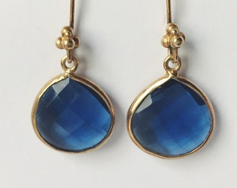 London Blue Topaz drop earrings - London Blue Topaz danglers - Small