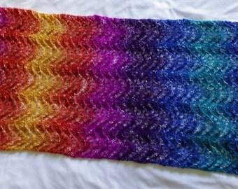 Hand-Knit Rainbow Lace Ripple Shawl