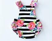 Black White Stripe / Pink Floral / Baby Romper