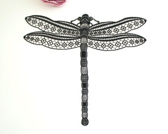 Swiss embroidery: lace applique black dragon-fly