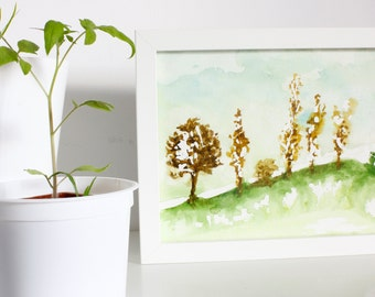 Blade original watercolor. Trees. 18 x 24 cm. With/without frame