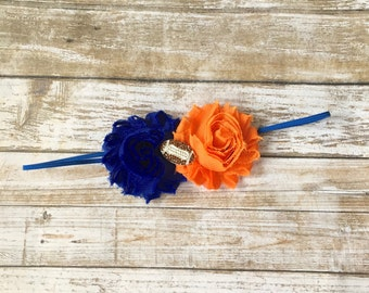 Orange & Blue Headband/Florida Gator Headband/Denver Broncos Headband/Chicago Bears Headband/Football Headband/Baby Headband/Infant Headband