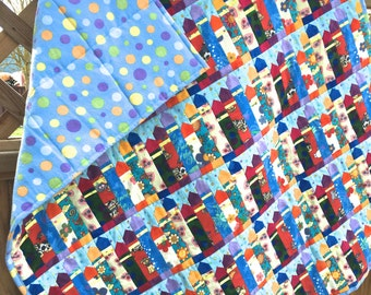 """New Handmade Flannel Baby Crib Size or Lap Quilt """"Crayons"""", Crib Quilt, Baby Blanket, Baby"""
