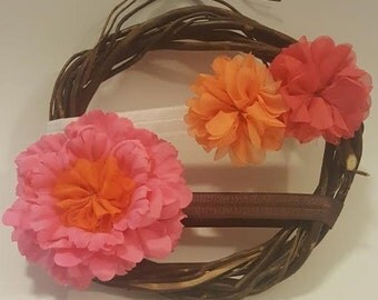 "Two 14"" Elastic Flower Headband, Baby Headband, Baby Hair Accessory, Newborn to 3 months, Photo Session Prop"