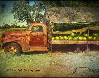 Farm Photography, Chevy Truck, vintage Photography, country kitchen,Watermelons, New Jersey, Wall Art,Wall Photography