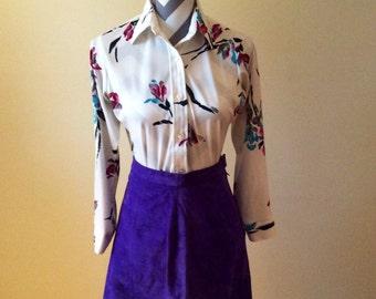 Vintage blouse/ 1970s floral blouse