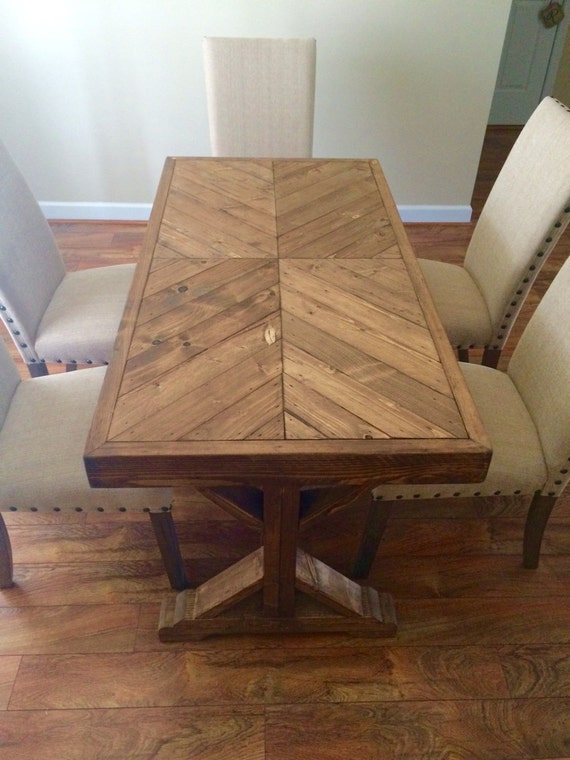 Farmhouse table rustic table kitchen table chevron table for Wood table top designs
