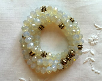 Frosted Clear Faceted Crystal  Bead Bracelet