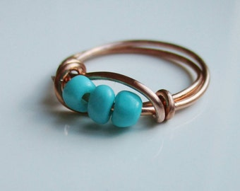 Turquoise Copper Ring, Glass Bead Ring, Turquoise Wire Wrap Ring, Boho Ring