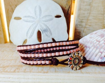 3 Wrap Brown Leather Bracelet - Peach