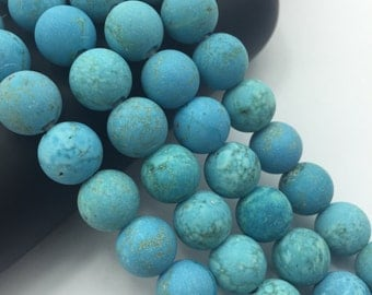 2.0mm Large  Hole Matte Blue Turquoise Round 10mm/8mm Semi-Precious Gemstone Loose Beads Approximate 15.5 Inch. R-M-L-TUR-0296