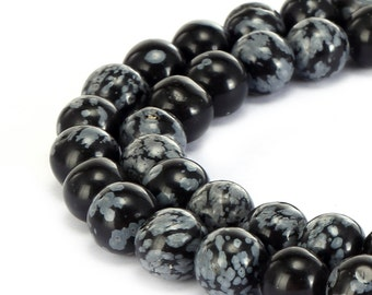 Snowflake Obsidian Smooth Gemstone Round Loose Beads 4mm/6mm/8mm/10mm Approximate 15.5 Inches per Strand.R-S-JAS-0246