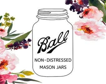 Non Distressed Mason Jars, Undistressed Mason Jars, Smooth Painted Mason Jars, Glossy Mason Jars