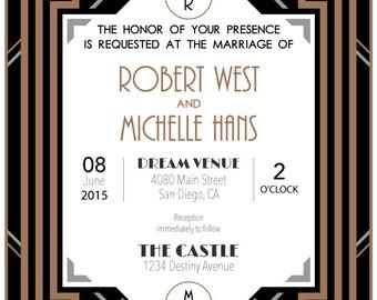 Gatsby Style Wedding invitation - Black and Gold