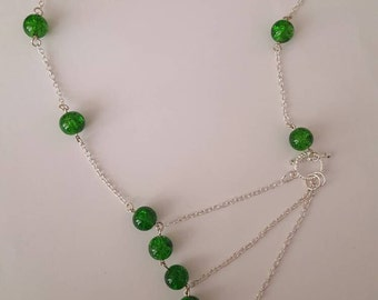Unique green beaded necklace