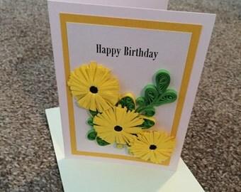Yellow flower happy birthday card