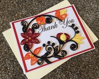 Thank You Card - Red and Orange Flowers