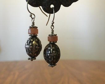 Antique-style Metal Bead Earrings