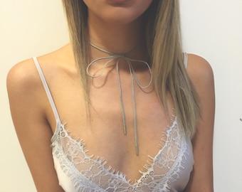 Thin Suede Silver Wrap Tie Necklace 'THADINE'