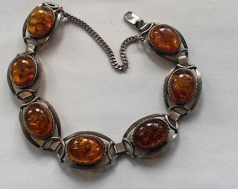 Bracelet Silver 925 + 7 rings amber work hand