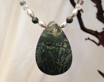 Kambaba Jasper Pendant and Bead Necklace