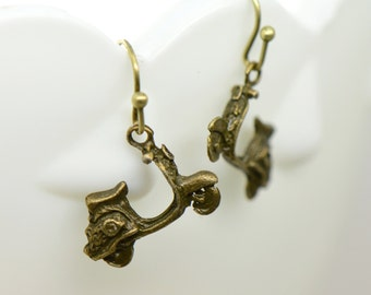 Scooter Earrings, Antique Bronze Finish, Vintage Style Charm Pendant Earring, Moped Jewelry (BA130)