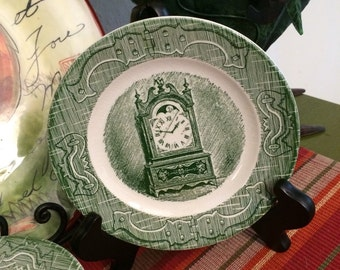 Vintage Royal China Old Curiosity Green Transferware Set of 11 Small Plates Clock and Hinge Pattern