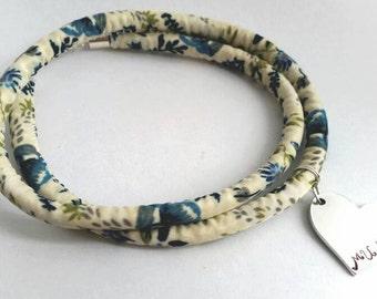 Festival Boho Summer Hippy Wrap Bracelet Hand Stamped Bangle - Mixed flowers