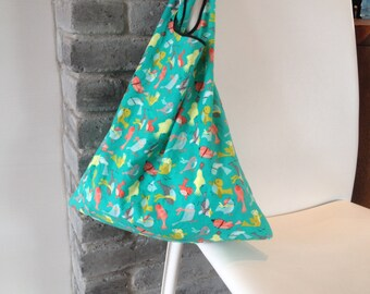 folding tote bag, reusable tote bag, market bag, shopping bag, green cotton with birds print