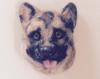 Needle Felted Dog Brooch.
