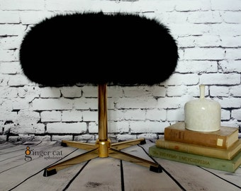 Black sheepskin pedestal gold bedroom stool
