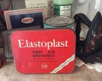 Vintage FIRST AID elastoplast band aid tin metal box