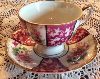 Japan footed cup saucer pink oriental floral pattern A-906