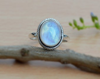 Blue Fire Rainbow Moonstone Ring, Sterling Silver Ring, Gemstone Stacking Ring, Moonstone Jewelry, 14K Yellow Gold Moonstone Ring Jewelry