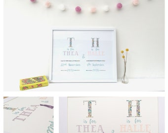 Personalised Bith Announcement Papercut / Birth details/ Liberty birth announcements/ Name/ Wall decor/ Nursey decor/ Papercut/ Kids/ Baby